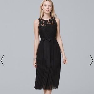 LACE-BODICE BLACK PLEATED FIT-AND-FLARE DRESS